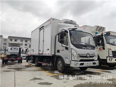 程力蓝牌国六4米2福田奥铃速运肉钩冷藏车厂家报价配置