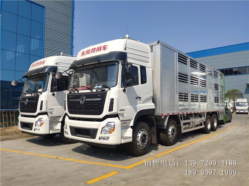 东风天龙前四后八铝合金拉猪车厂家-东风天龙畜禽运输车价格