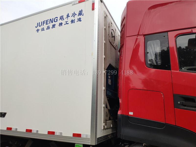 东风天龙kL前四后八9米6肉钩冷藏车厂家价格