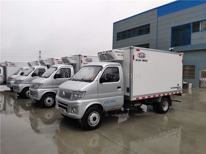 3米2蓝牌小型长安神祺后双轮肉钩冷藏车厂家价格配置参数