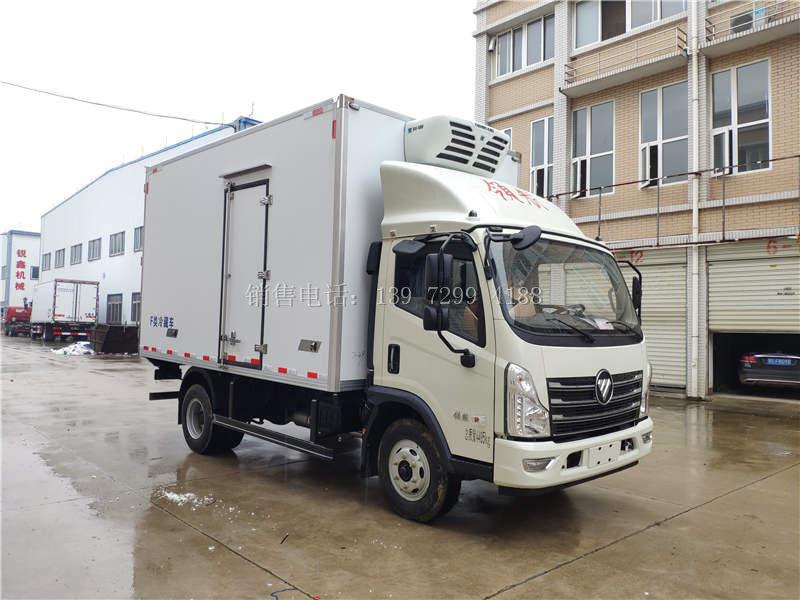小型4米2蓝牌单排福田时代领航肉钩冷藏车厂家价格配置参数多少钱一台