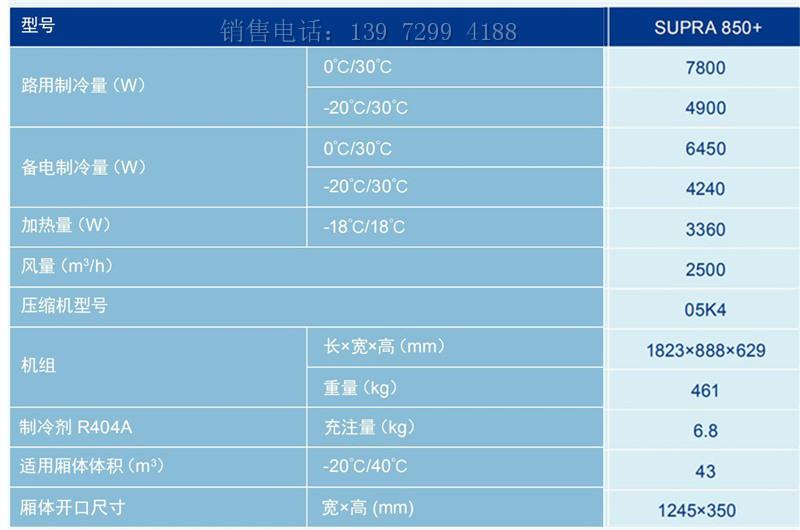 开利SUPRA850+型独立式冷藏车制冷机组价格图片参数